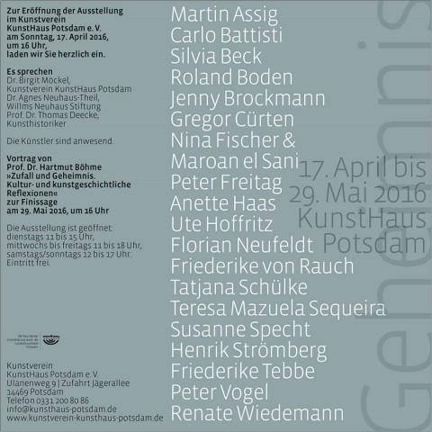 """Geheimnis"" Kunstverein Kunsthaus Potsdam e.V."